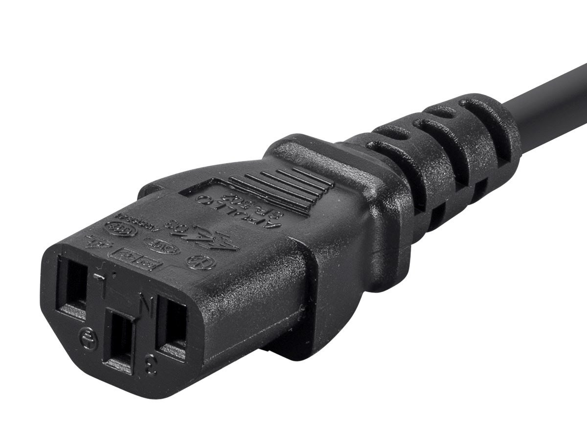 15 Foot - Straight End Computer or Printer AC Power Cord - Black (Longer Reach without an Extension)