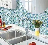 Beaustile Sapphire Blue Mosaic 3D Wall Stickers Home Decor Fire Retardant Backsplash Wallpaper Bathroom Kitchen DIY