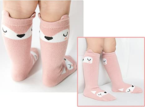 YJWAN 6 Pairs Toddler Anti Skid With Grips Knee High Socks M, 6 Pairs-mix Color Unisex Baby Girls Socks