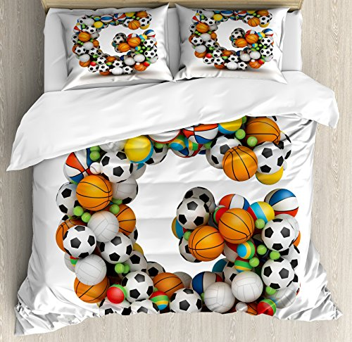 Ambesonne Letter G Queen Size Duvet Cover Set, Athletic Them