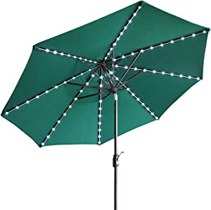 EliteShade Sunbrella Solar Umbrellas 9ft Market Umbrella with 80 LED Lights Patio Umbrellas Outdoor Table Umbrella with Ventilation and 5 Years Non-Fading Top,Forest Green