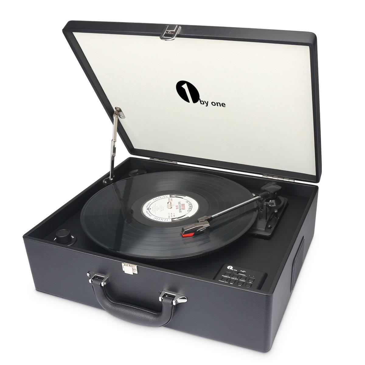 Nero USB per MP3 AUX In e uscita RCA Registra da Vinile a MP3 1byone Giradischi a Valigia con trazione a Cinghia 3 Velocit/à e Altoparlante Integrato Bluetooth