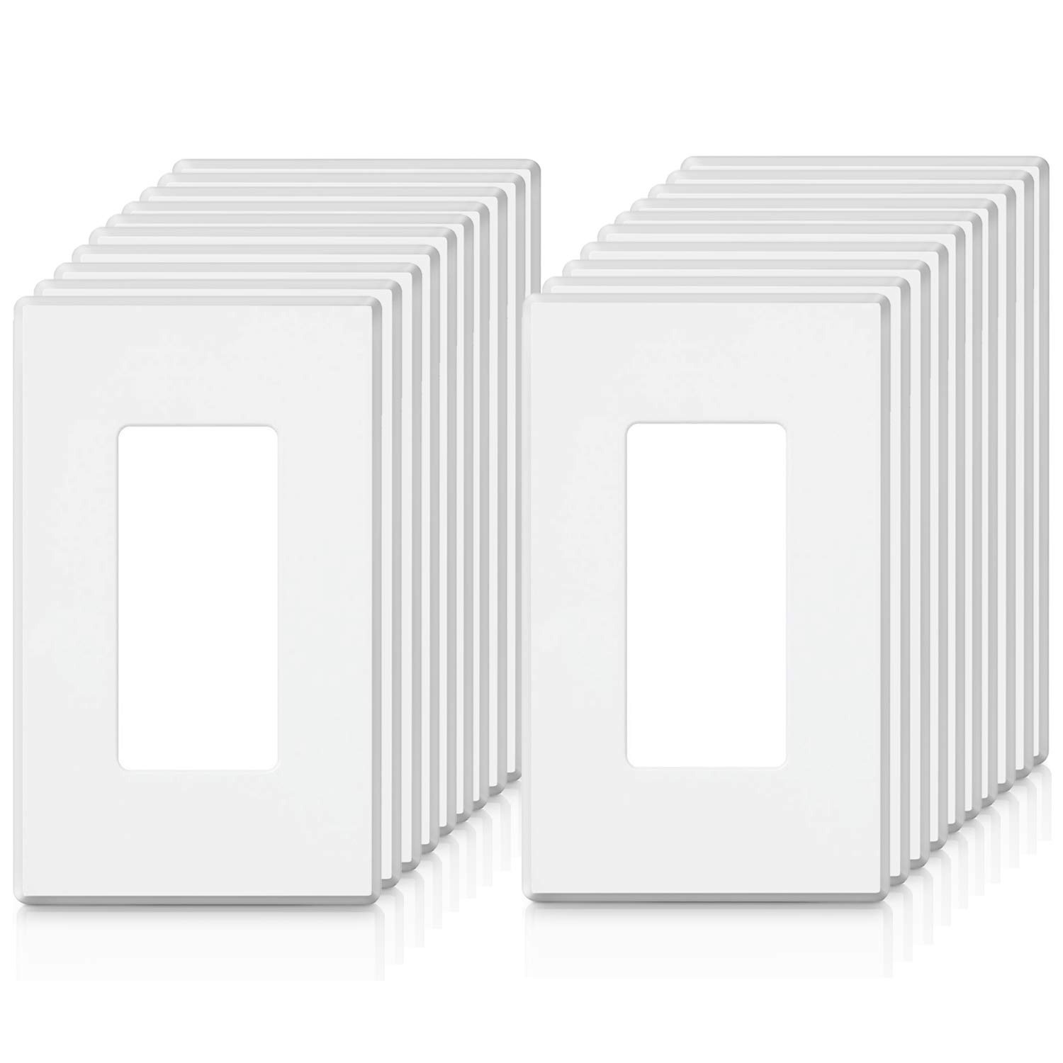 [20 Pack] BESTTEN 1-Gang Screwless Wall Plate, USWP2 Elegance White Series, Standard Outlet Cover for Light Switch, Dimmer, Sensor, Timer, and Receptacle, Residential and Commercial, UL Listed