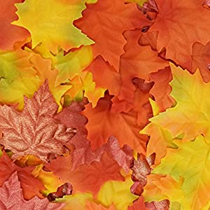 Gift Boutique 120 Artificial Maple Leaves Multicolor Autumn Loose Leaf Harvest Table Scatters for Fall Weddings, Thanksgiving Party, and Arts & Crafts Supplies and For Decorations 85