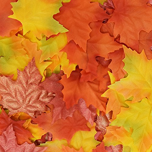 120 Artificial Maple Leaves In A Mixture Of Autumn Colors Great Harvest Table Scatters For Fall Weddings, Thanksgiving Party, Arts And Crafts Supplies And For Decorations By Gift Boutique (Halloween Party Niagara Falls)