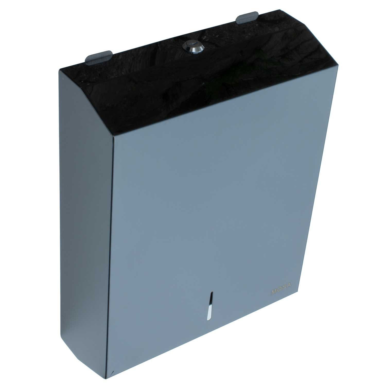 Mosa Stainless Steel Paper Dispenser Hand Towel Dispenser Paper Hand Towel Dispenser Lockable Stainless Steel Up To 800/Sheets 201/Black Mirror Black 400 Blatt 1