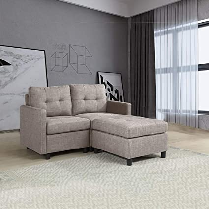 OuchTek Grey Loveseat Sofas with Ottoman Linen
