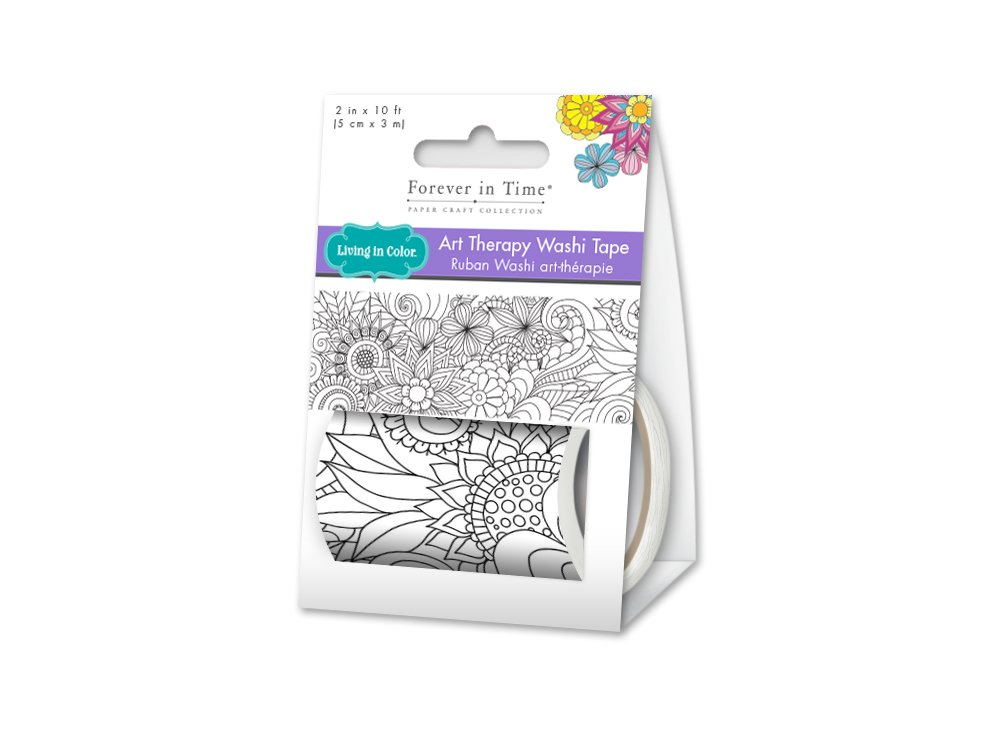 Living In Color Paper Craft Washi Tape 2in x 3m Washi Tape Art Therapy, Unique Adult Coloring Masking Tape, Secret Garden Multicraft ST620H