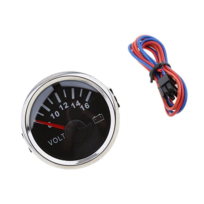 kesoto Electronic Digital Voltmeter Voltage Gauge Volt Meter Red LED 2inches 52mm for Car Vehicle Auto White