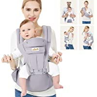 Viedouce Ergonomic Baby Carrier with Detachable Hip Seat Front Back Carry Backpack with Hood Newborn Toddler Child…