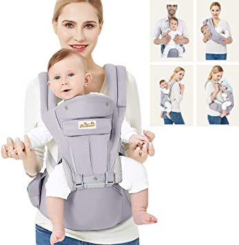 Viedouce Baby Carrier Ergonomic with Hip Seat// Pure Cotton Lightweight and for 0