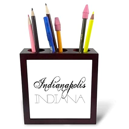 Indianapolis, Indiana. Black Elegant Text On White   5 Inch Tile Pen Holder  (ph_287428_1) : Office Products