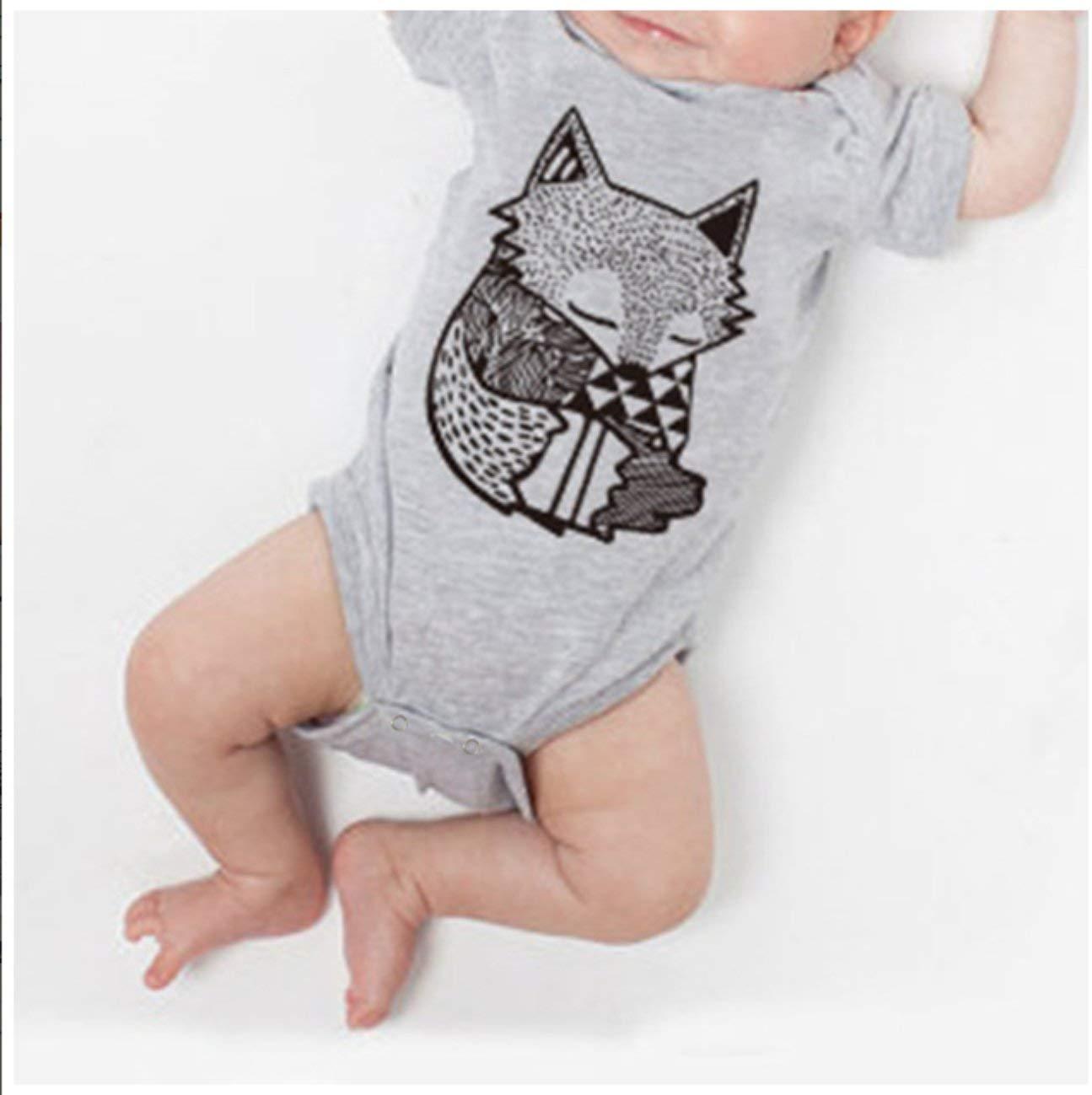 Pagliaccetto per neonato in cotone estivo manica corta motivo a volpe stampato ragazzi ragazze tuta moda o-collo pagliaccetto pagliaccetto vestiti unisex grigio 43530