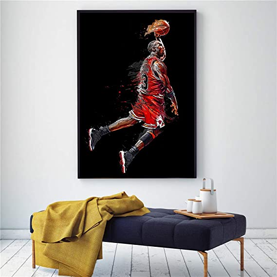 mmzki Pintura de Arte Abstracto Poster Fly Dunk Baloncesto ...