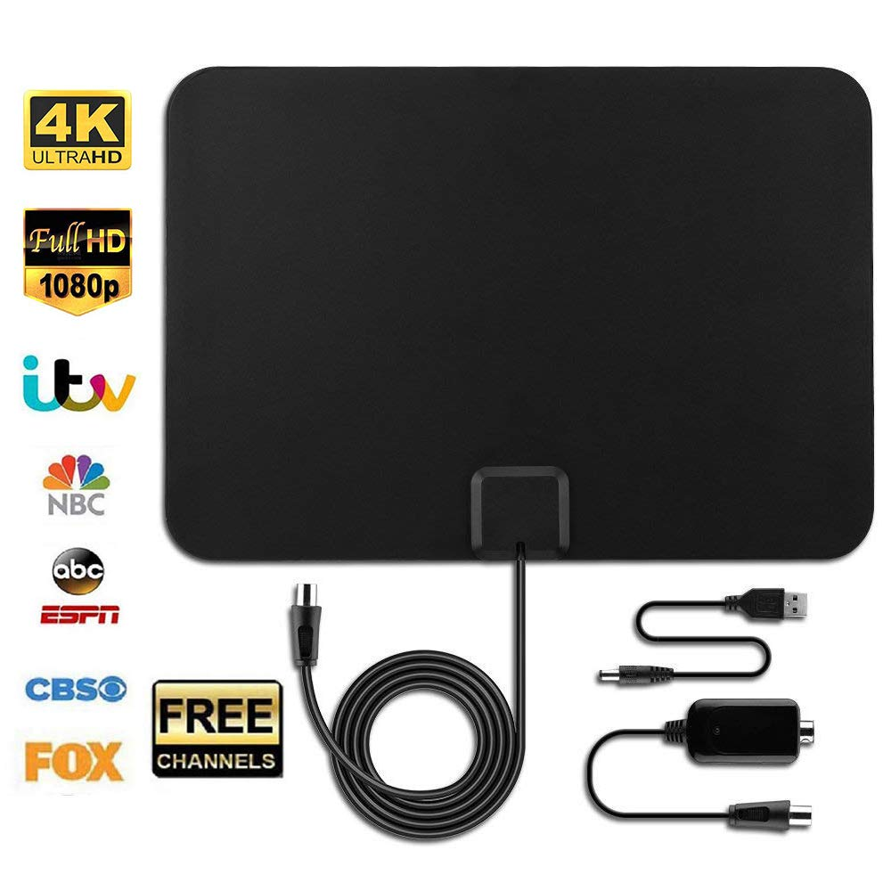VicTsing [Upgraded Version HDTV Digital Indoor TV Aerial,50 Miles Range,Paper Thin Amplified HDTV Antenna Indoor Free-View Aerials with Detachable Amplifier Signal Booster, 10ft Long Cable