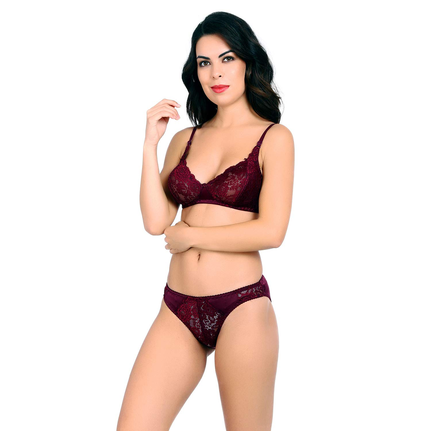 b7f427870af28 ... Women s Everyday Non Padded Wire Free Full Coverage Lace Bra Panty Set  with Adjustable Straps - Pack of 2 Lingrie Set  Amazon.in  Clothing    Accessories