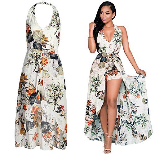 Diamondo Summer Sexy Women Fashion V neck Strap Print Backless Open Shoulder Irregular Sleeveless Dress (Apricot, Asian XL) Apricot Sleeveless