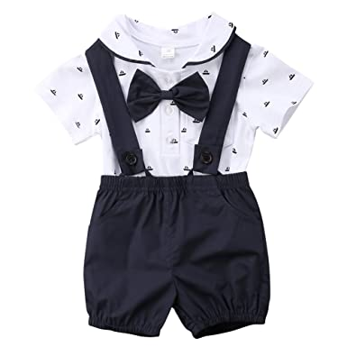 b45ae1bae1af Baby Boys Short Sleeve Bodysuit Dot Printed Gentlemen Overall with Bow Tie  Shorts Outfit Set (