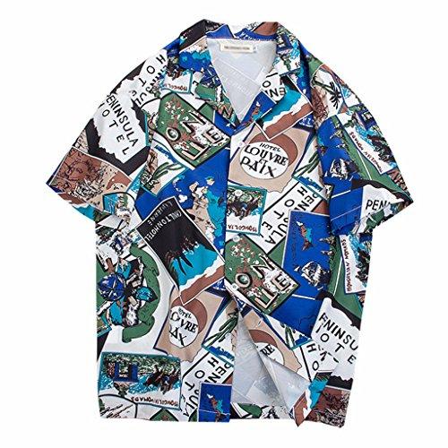 チューブブロックする森林シャツ アロハシャツ カップル ハワイ風 夏 開襟 ラペル UV対策 通気速乾 軽量 カジュアル 薄手 ゆったり 旅行 リゾート ビーチ 海 ユニセックス 夏服 半袖シャツ プリント柄 赤 ブルー M L XL 2XL