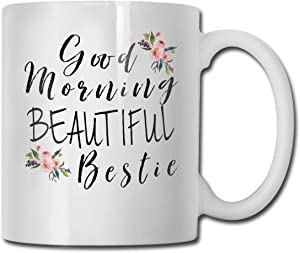 antkondnm Good Morning Beautiful Bestie Coffee Mug - Funny Poop Mug- 11 OZ Ceramic Coffee Cup - Unique Christmas, Birthday, for Friends, Men, Women