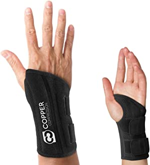 Copper Compression Wrist Brace - Guaranteed Highest Copper Content Support for Wrists, Carpal Tunnel, Arthritis, Tendonitis. Night Day Wrist Splint for Men Women Fit Right Left Hand (Right Hand S-M)
