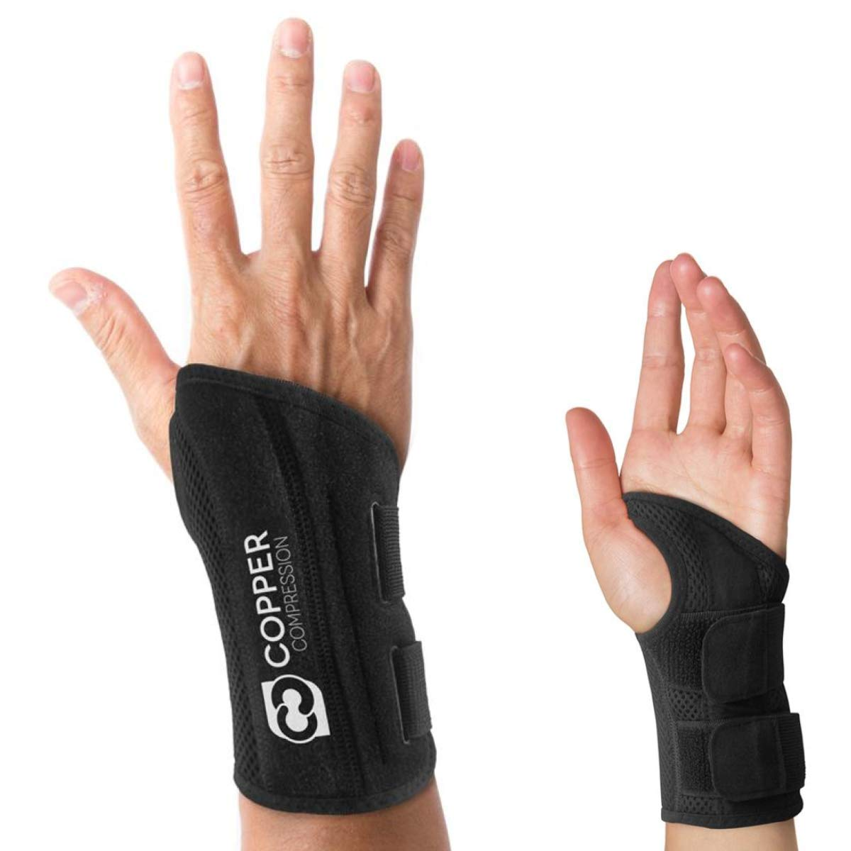 Copper Compression Wrist Brace - Guaranteed Highest Copper Content Support for Wrists, Carpal Tunnel, Arthritis, Tendonitis. Night and Day Wrist Splint for Men and Women Fit for Right and Left Hand