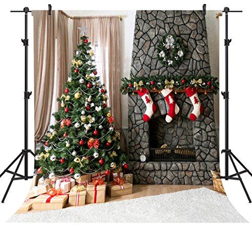 OUYIDA 8X8FT Seamless Christmas Theme CP Pictorial Cloth Photography Background Computer-Printed Vinyl Backdrop GA33