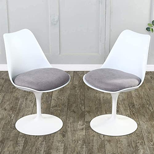 Dining Chairs Set of 2 Mid-Century Modern Swivel Dining Chairs Upholstered Fabric Kitchen Chair