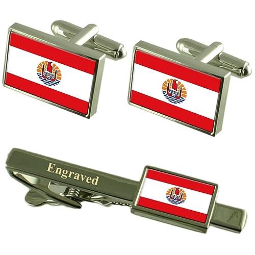 Select Gifts La Polinesia Francesa Bandera gemelos grabados Clip ...
