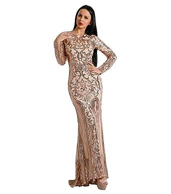 Missord Womens O Neck Long Sleeve Retro Sequin Maxi Gorgeous Evening Dress FT8578 Gold XS