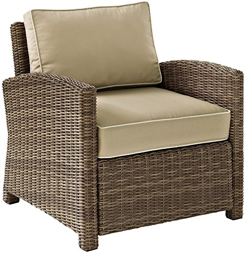 Crosley Furniture Bradenton Outdoor Wicker Arm Chair with Cushions - Sand