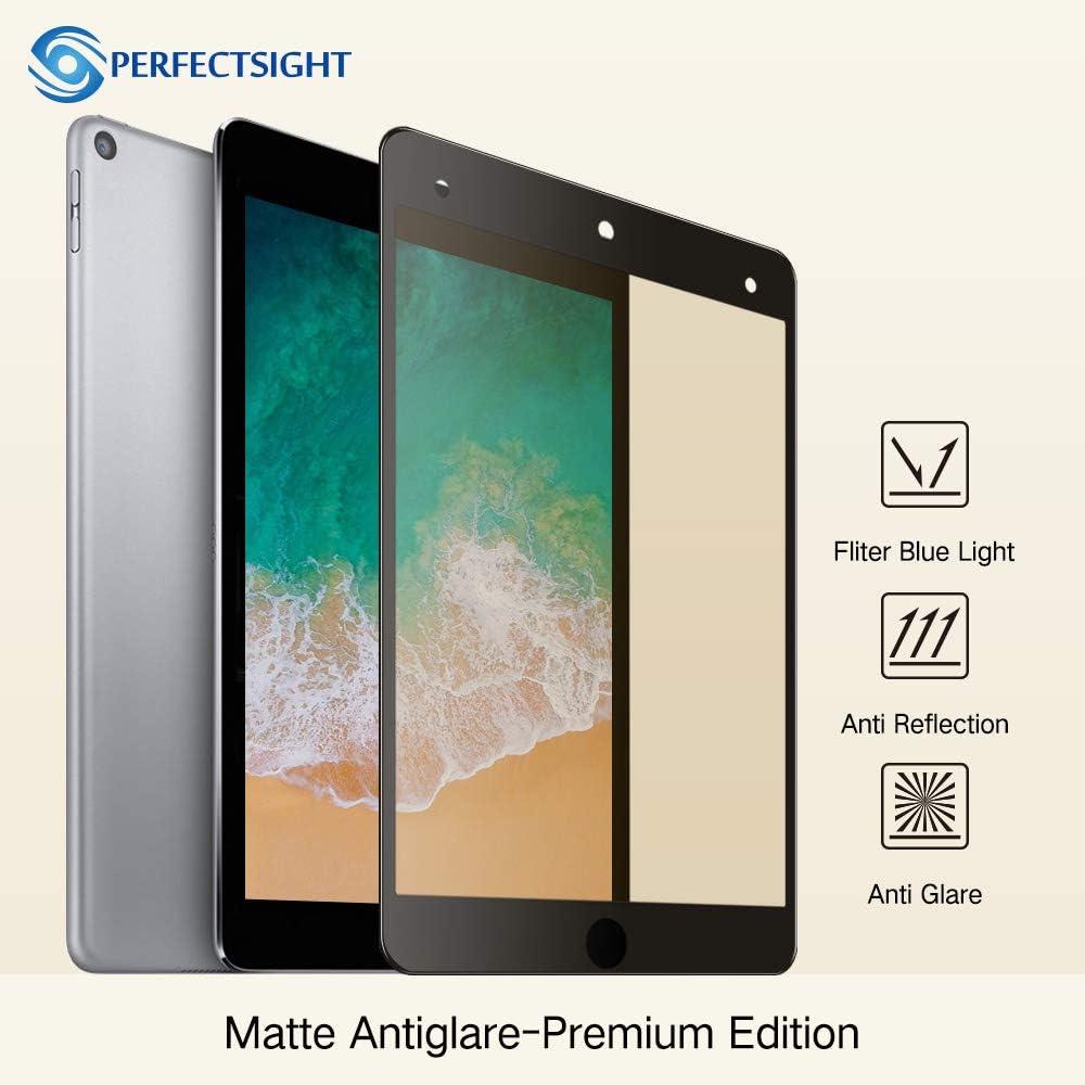 PERFECTSIGHTスクリーンプロテクター iPad Mini 5 2019用 アンチグレア55%ブルーライトフィルター 指紋防止強化ガラス [ブラック]