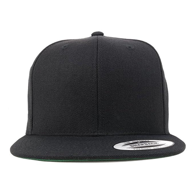 07d662570372c8 Armycrew Flexfit Oversize XXL Structured Blank Flatbill Snapback Cap -  Black - 2XL