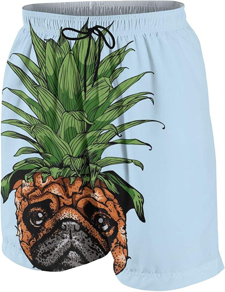 Kidhome Teenagers Boys Beach Board Shorts Shower Pug Summer Drawstring Beach Shorts Swim Trunks with Pockets for Teen Boys