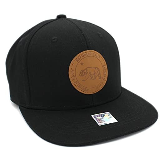 CALI BEAR on ROUND LETHER PATCH Snapback Cap b392e296fdf