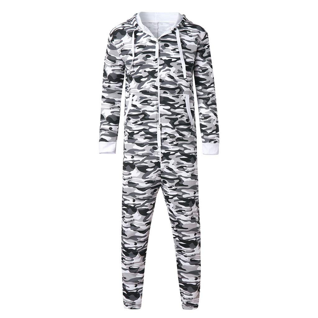 AmyDong Men Women Unisex Jumpsuit Hooded Garment Non Footed Pajama Playsuit Blouse Onesies