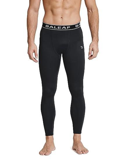 6e4f4af6fb Baleaf Men's Thermal Compression Baselayer Pants Leggings Black/Black Size L