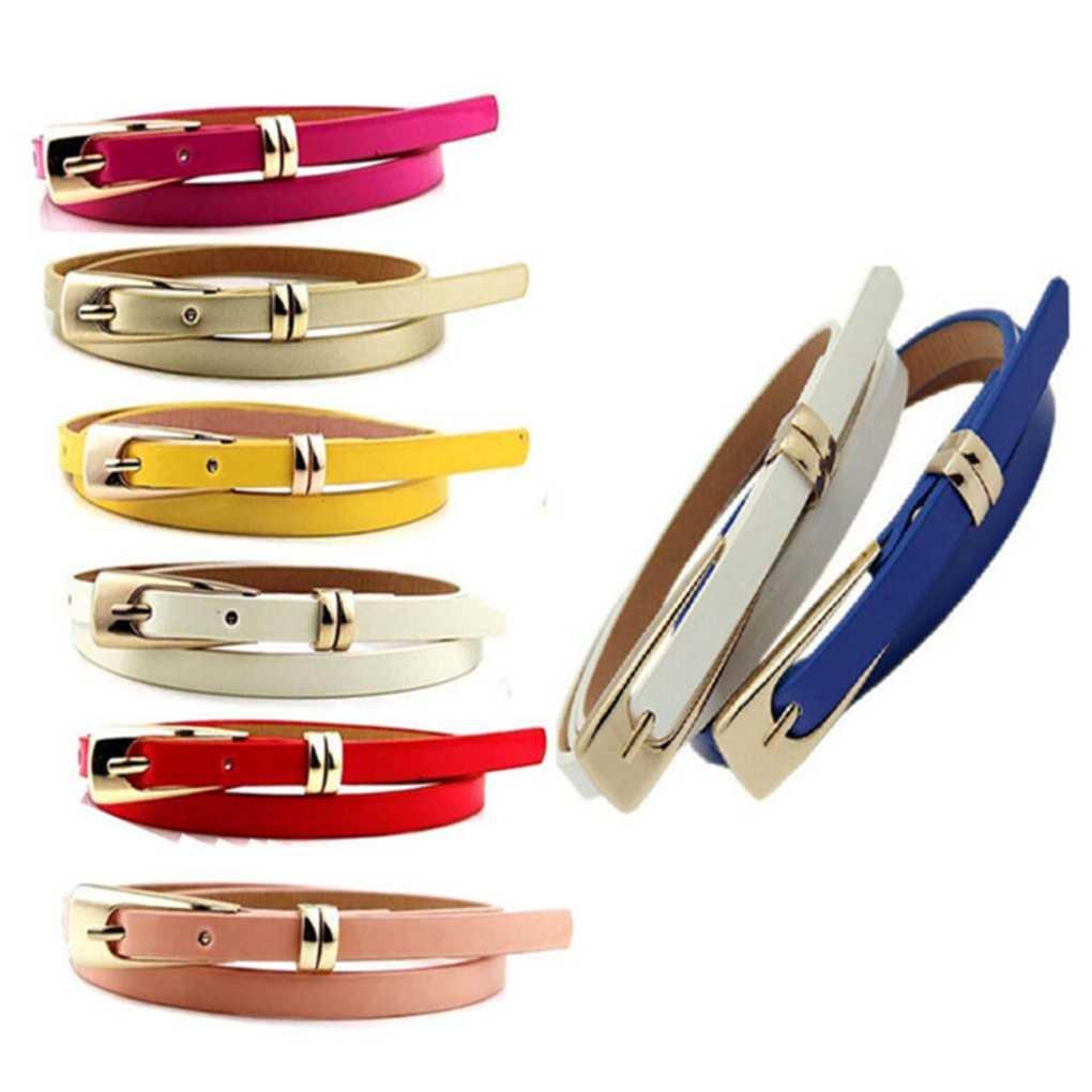 Bobury Cinturones para Mujeres Cuero de la PU Ajustable Cinturones Delgados Finos Cinturones Estrechos Cintura de Color s/ólido