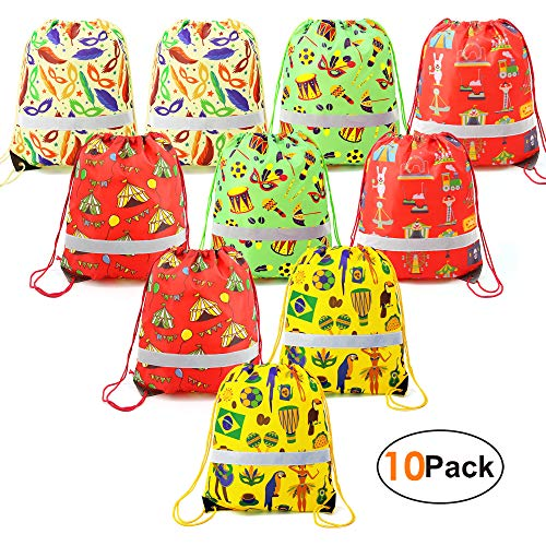 Carnival-Party-Supplies-Favors-Bags Gift Bag Drawstring Backpack Bulk for Treat Goodie Candy 10 Pack