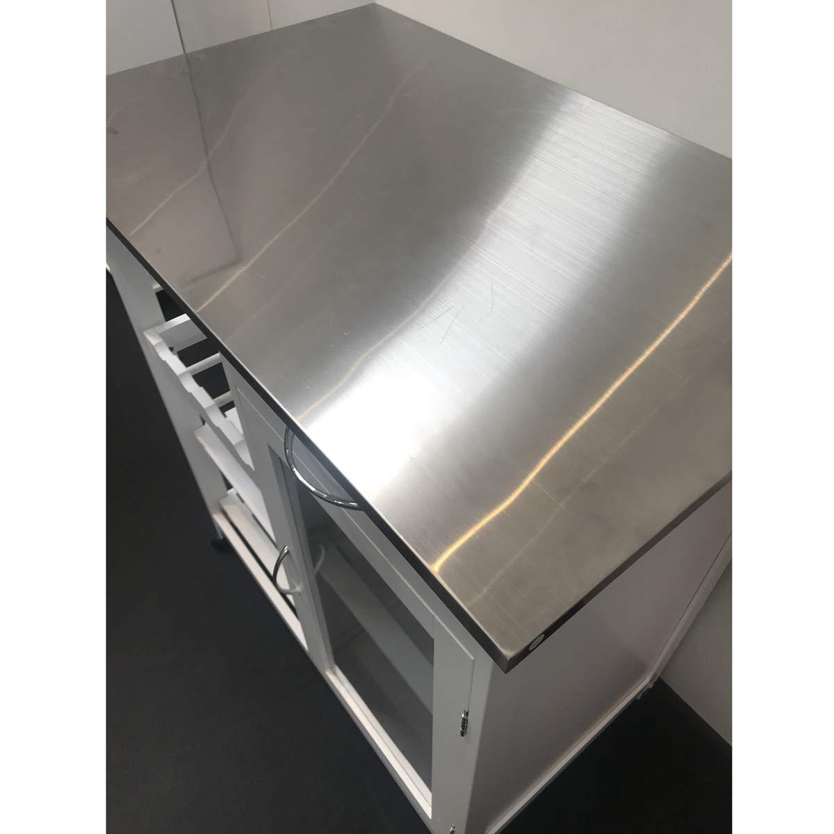 MAIMAITI Kitchen Trolley , White , Plan in Stainless Steel , 76/ x 48/ x 88/ cm