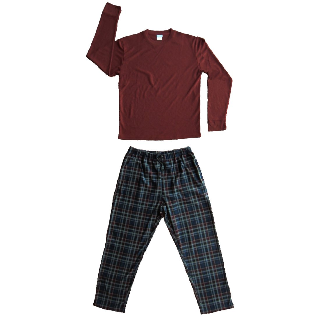 Mens 2 Pc Thermal Top Fleece Pants Pajamas Set Large, Dark Red TM25000