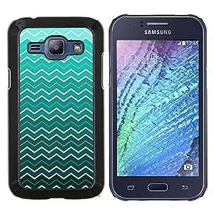 EJOOY---Cubierta de la caja de protección para la piel dura ** Samsung Galaxy J1 J100 ** --Ondas del papel pintado del arte de la turquesa blanca
