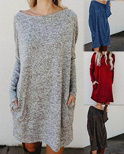 Minetom Winter Damen Lose Pullover Kleider Sweater Strickkleid Warm ...