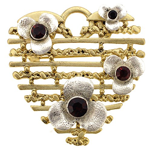(Garnet Flower Heart Pin Brooch and Pendant)