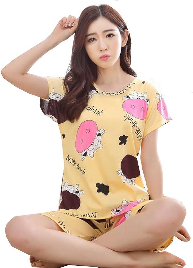 KEIA Big Girls//Teen Girls PJS Cow Shorts Summer Pajamas Set Casual Sleepwear