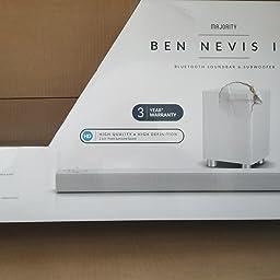 Sistema de Sonido de la Barra de Sonido Majority Ben Nevis II+ 150W - Subwoofer inalámbrico - Bluetooth - ARC HDMI - Control Remoto Grande - AUX - USB - Radio UKW -
