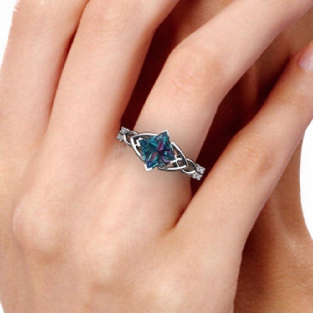 HJWMM Anillo De Diamantes Amantes Europeos Y Americanos, Anillo Colorido, Anillo De Compromiso Femenino,17Mm