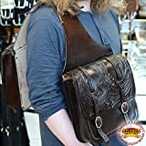 HILASON WESTERN DARK BROWN HAND TOOL LEATHER SADDLE SHOULDER BAG