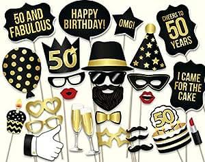 Veewon La 50.a tienda de la foto de la fiesta de cumpleaños apoya el kit unisex de 34pcs DIY conveniente para él o la suya 50.a celebración del cumpleaños