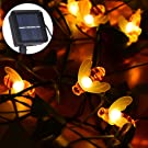 Goodia Solar Operated 6.5m 30 LED Honeybee String Lights, Outdoor Garden String Lights Waterproof, Perfect for Decorating Garden, BBQ Area, Patio, Terrace, Yard, Pathway (Warm White)